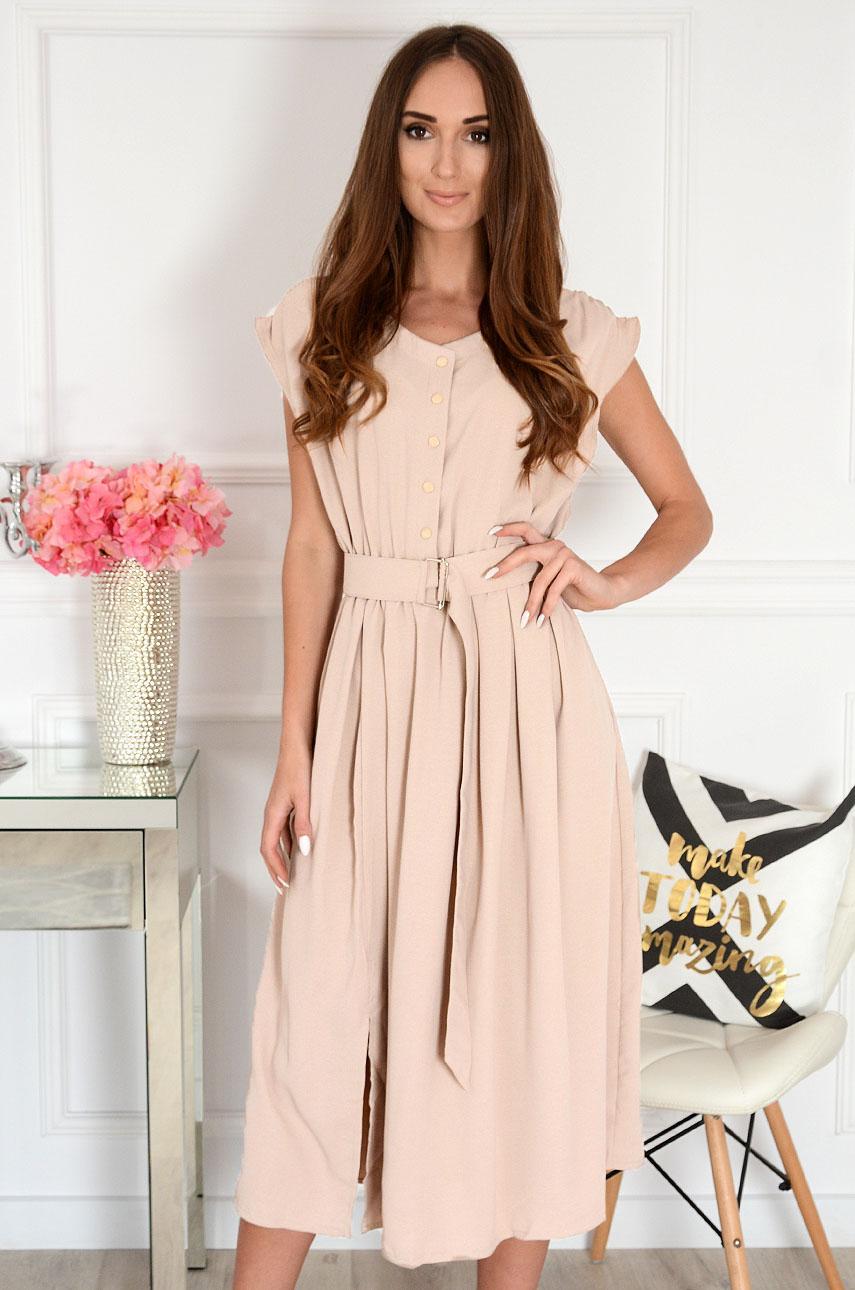 Béžové šaty s opaskom Zella