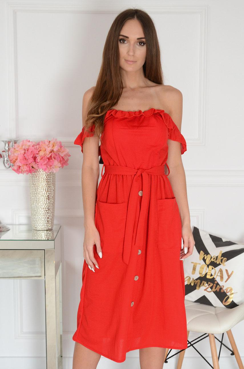 Sukienka hiszpanka midi z falbaną czerwona Joela