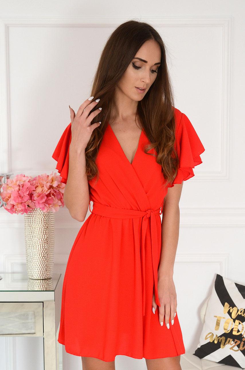Sukienka z falbanami kopertowy dekolt czerwona Syana Rozmiar: UNI