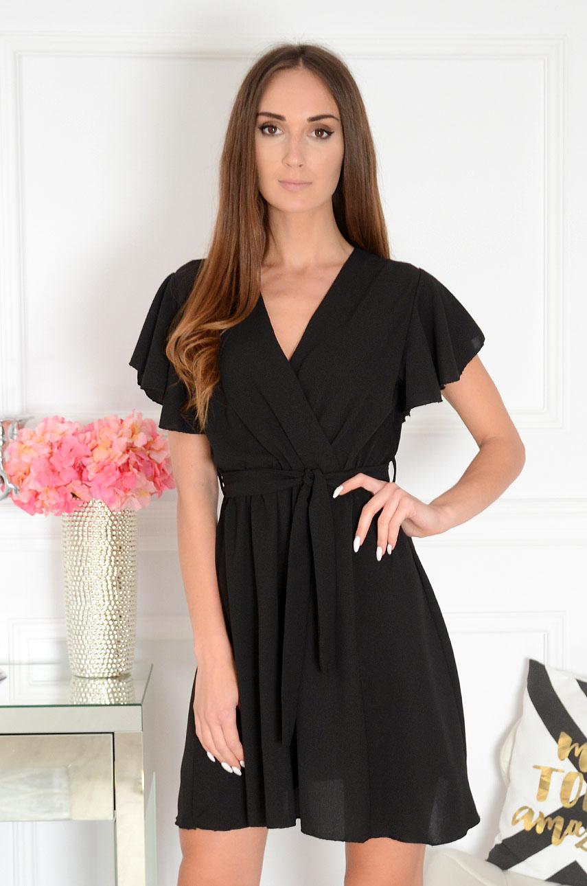 Sukienka z falbanami kopertowy dekolt czarna Syana Rozmiar: UNI