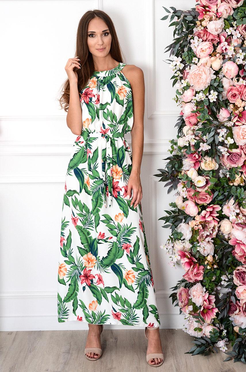 Sukienka maxi na szyję w zielone liście i kwiaty Rozalia