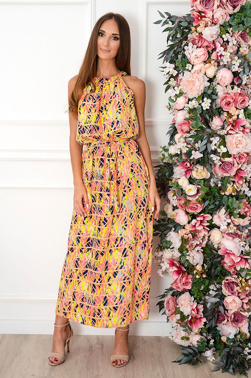 Sukienka maxi na szyję geometric multicolor neon Rozalia Rozmiar: UNI
