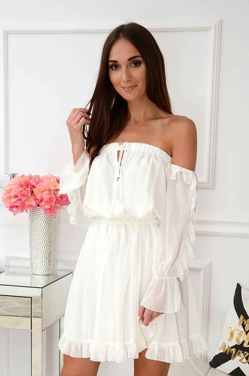 Sukienka hiszpanka szyfonowa mini biała Dafne Rozmiar: S
