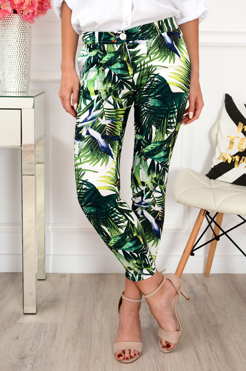 6a7a7298 Spodnie Cygaretki w tropikalne liście Ida