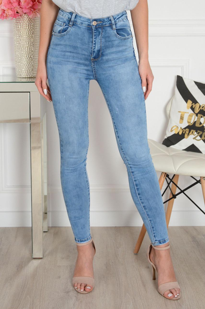 Spodnie jeans push up wysoki stan postrzępione kieszenie