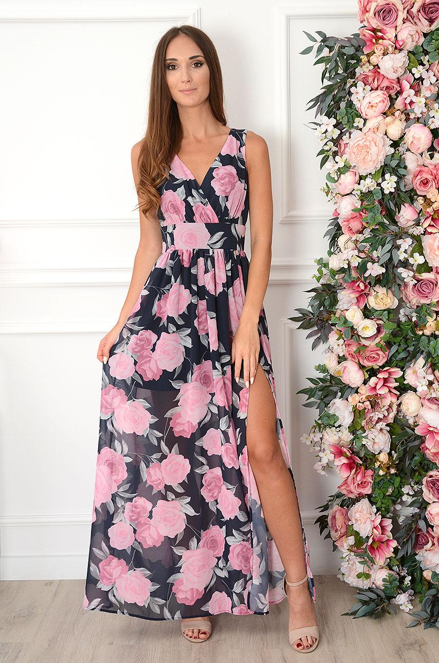 Sukienka maxi szyfonowa w różowe róże granatowa Izolda