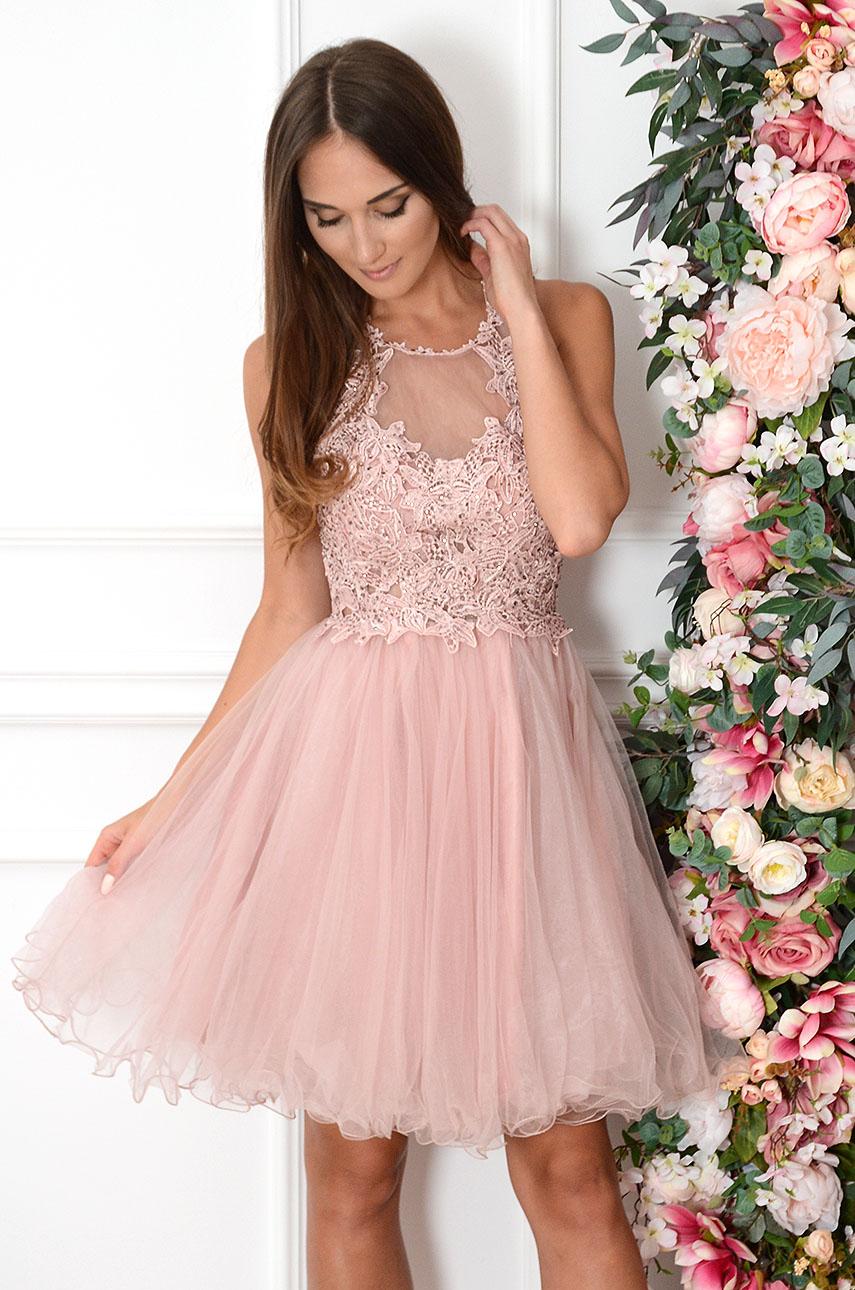 Sukienka z koronki i tiulu brudny róż Jadeite Rozmiar: S/M