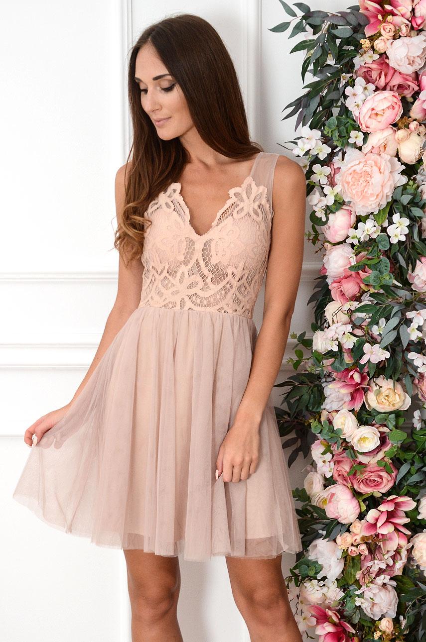 Sukienka z koronki i tiulu brudny róż Serenita Rozmiar: L