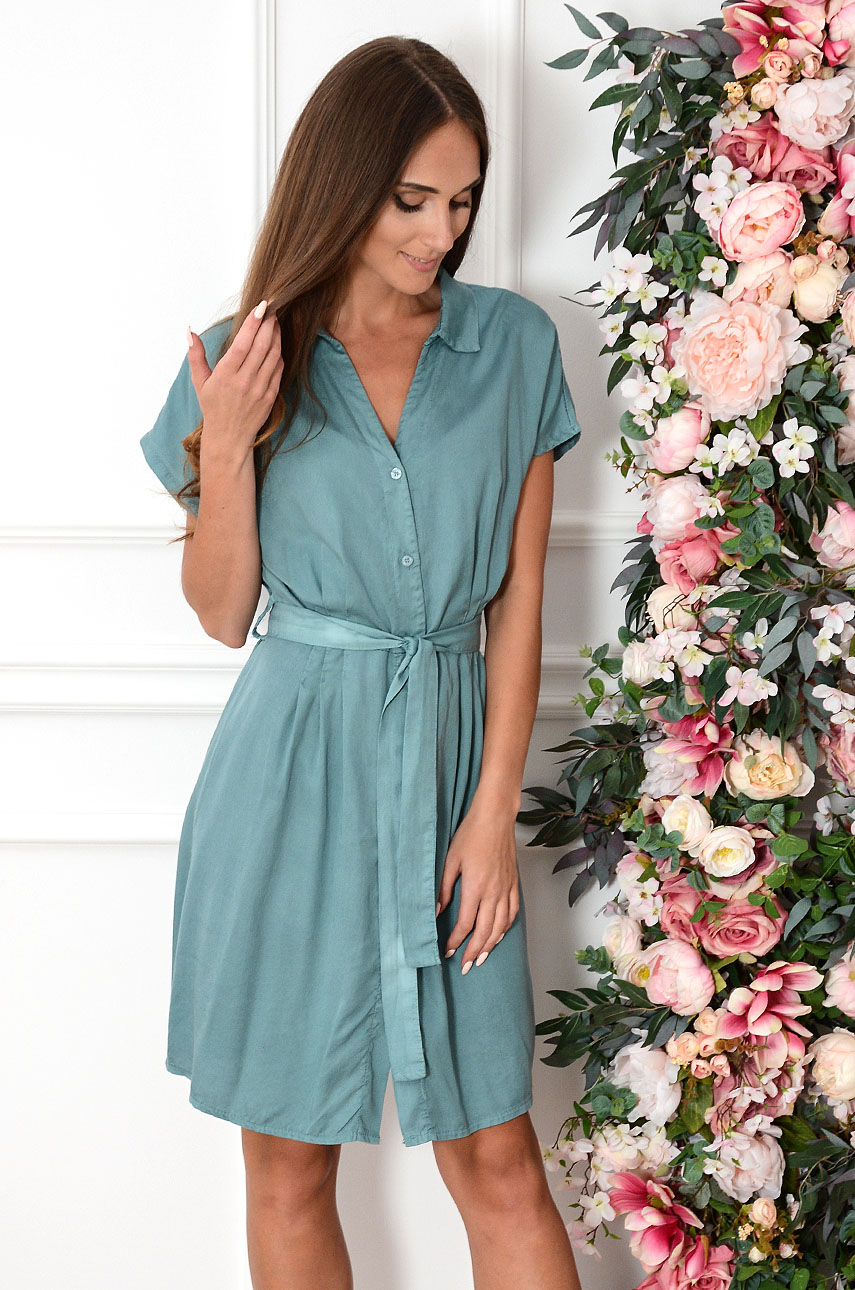 953ebdc8 Sukienka z paskiem na guziki morska zieleń Balgira