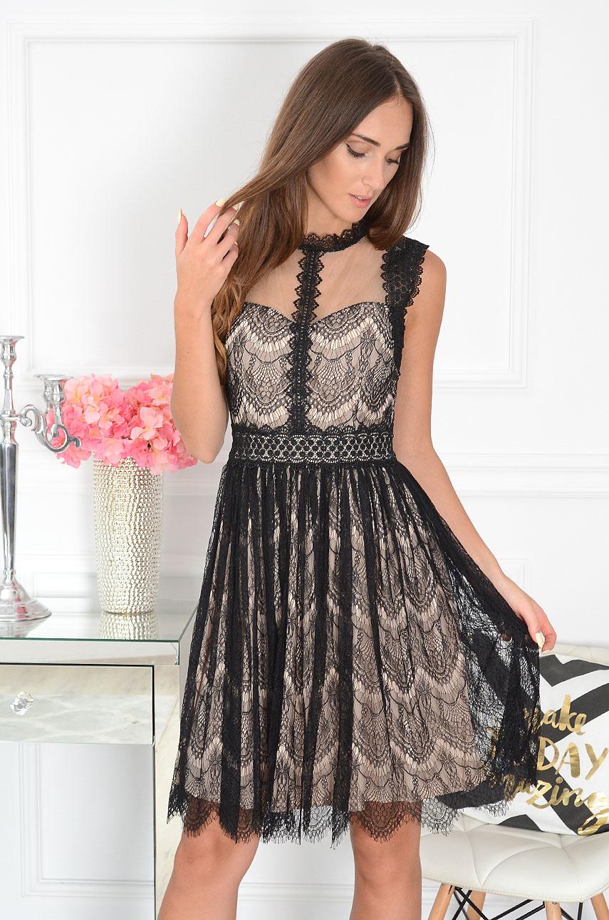 Sukienka koronkowa z gipiurą czarno-beżowa Bona Rozmiar: S