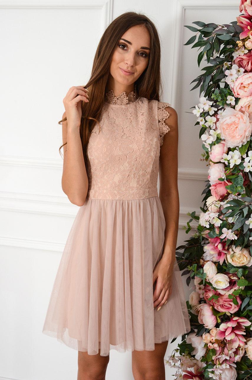 Sukienka mini z koronki i tiulu brudny róż Diori Rozmiar: L