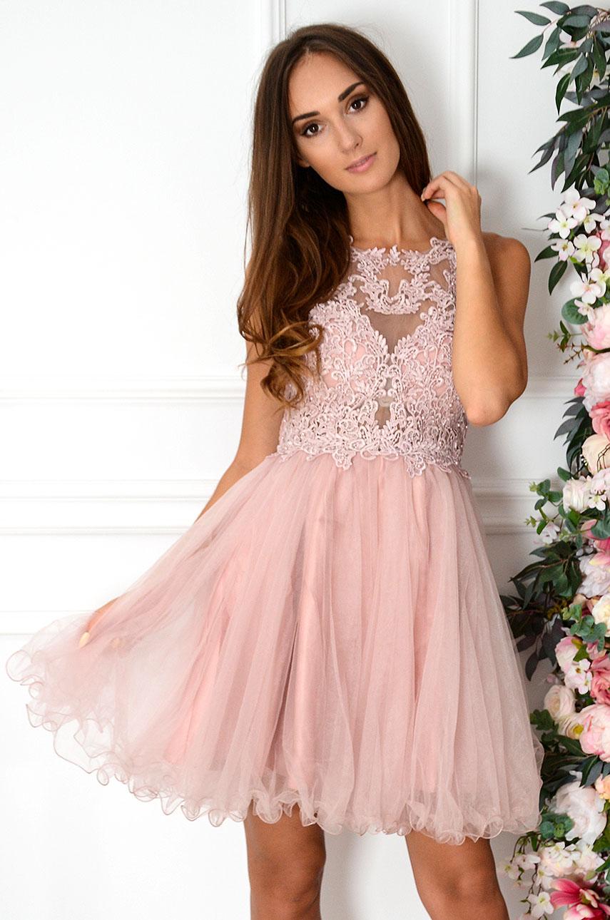 Sukienka z koronki i tiulu z perłami brudny róż Amor Rozmiar: S/M