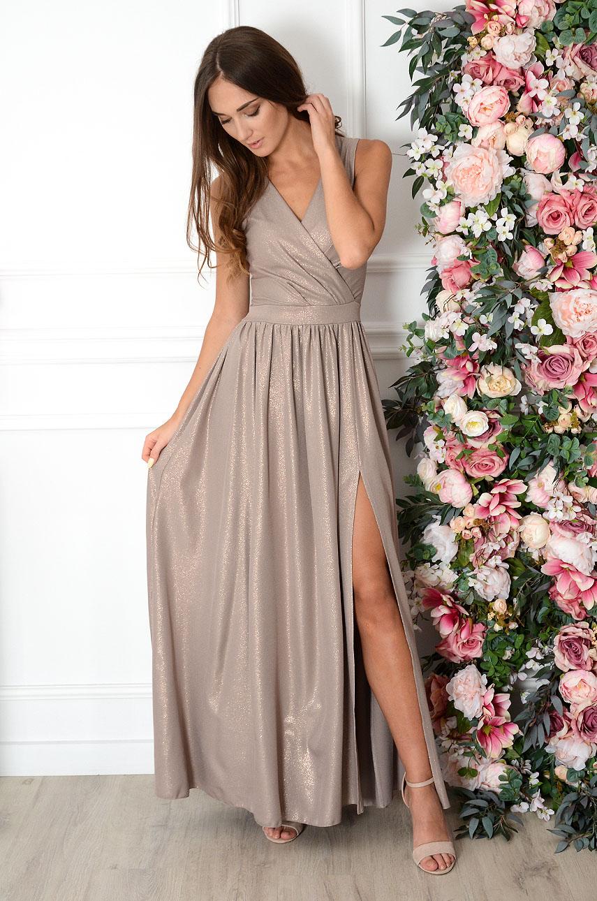 Sukienka maxi błyszcząca ciemny beż Lukrecja