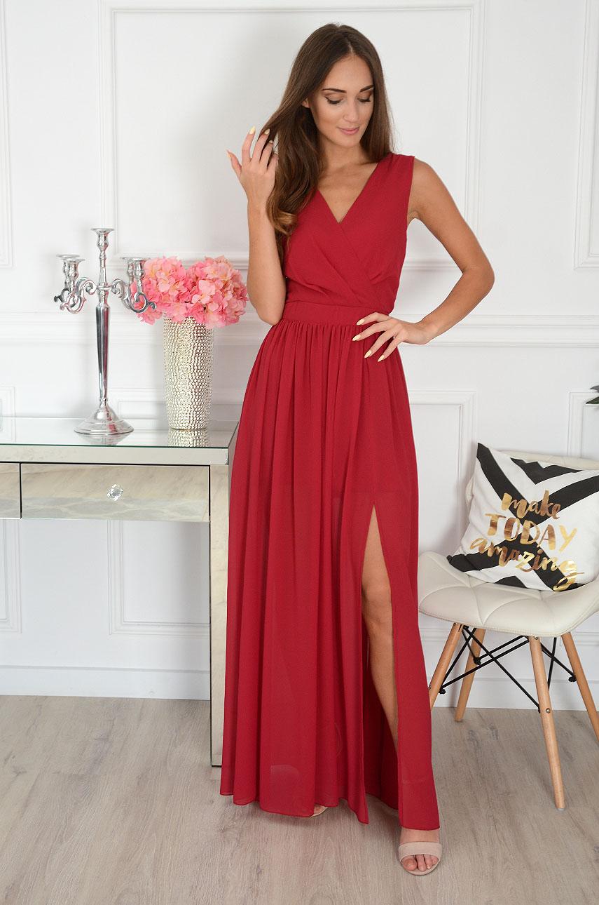 Sukienka maxi szyfonowa bordo Lukrecja Rozmiar: XL