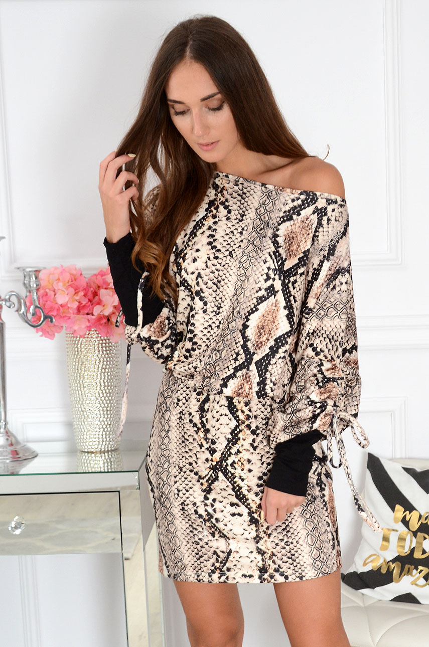 Sukienka kimono wężowa kamel Jowenet Rozmiar: UNI