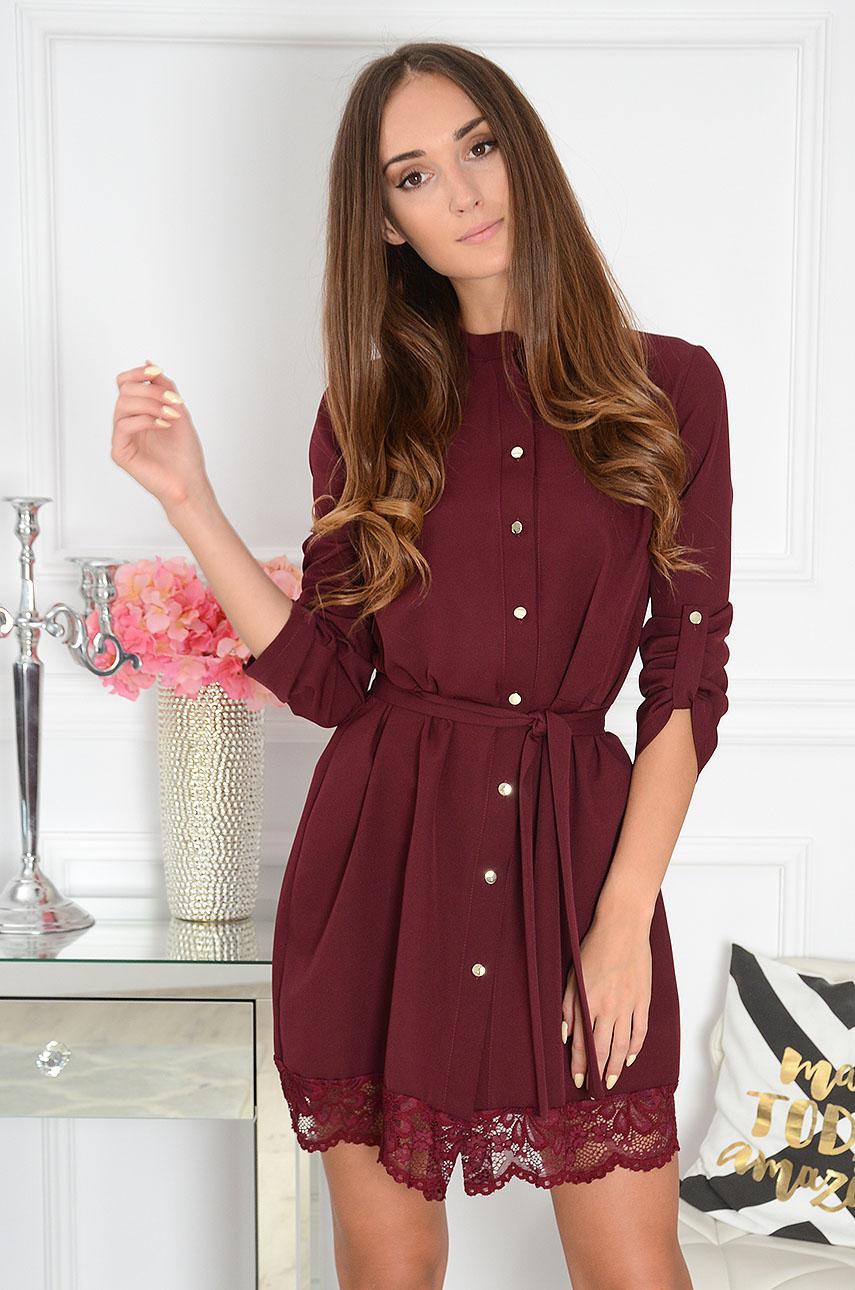 Sukienka na guziki z koronką burgund Elza Rozmiar: M