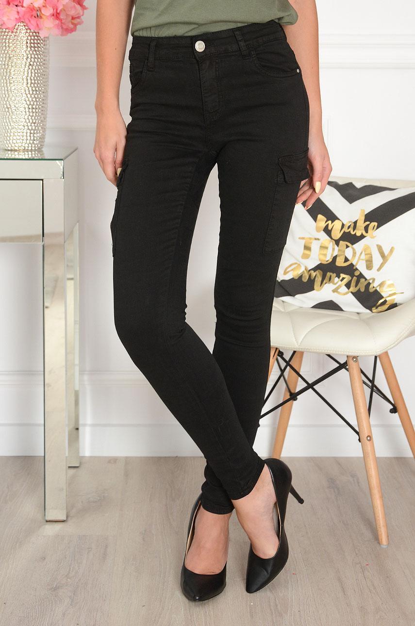 Spodnie rurki bojówki wysoki stan czarne Lomme Rozmiar: XS