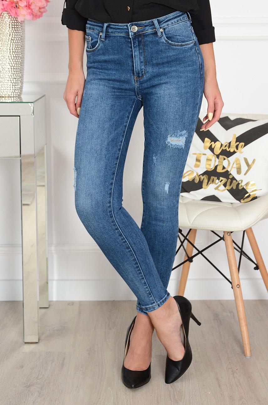Spodnie jeansowe rurki z przetarciami Elmo
