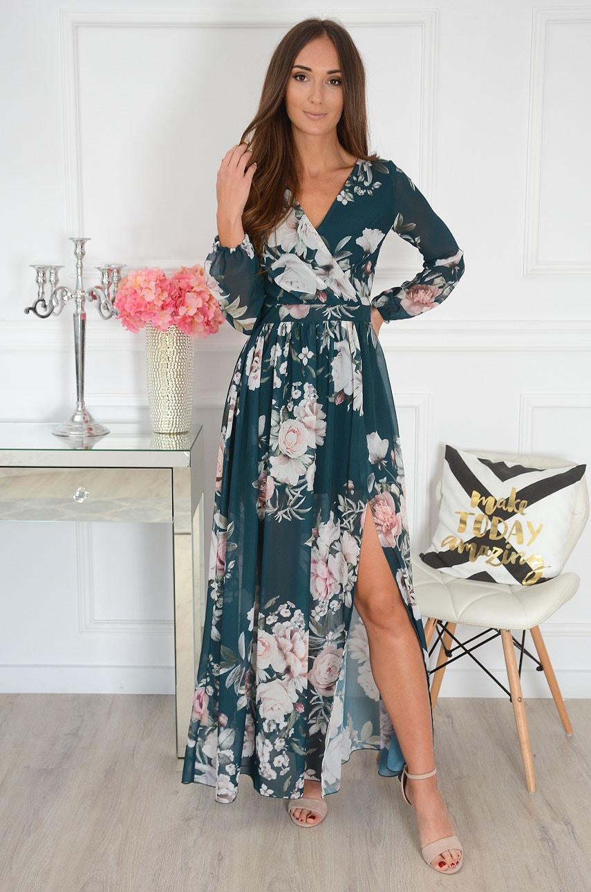 Sukienka maxi w kwiaty długi rękaw zieleń Lukrecja Rozmiar: XS
