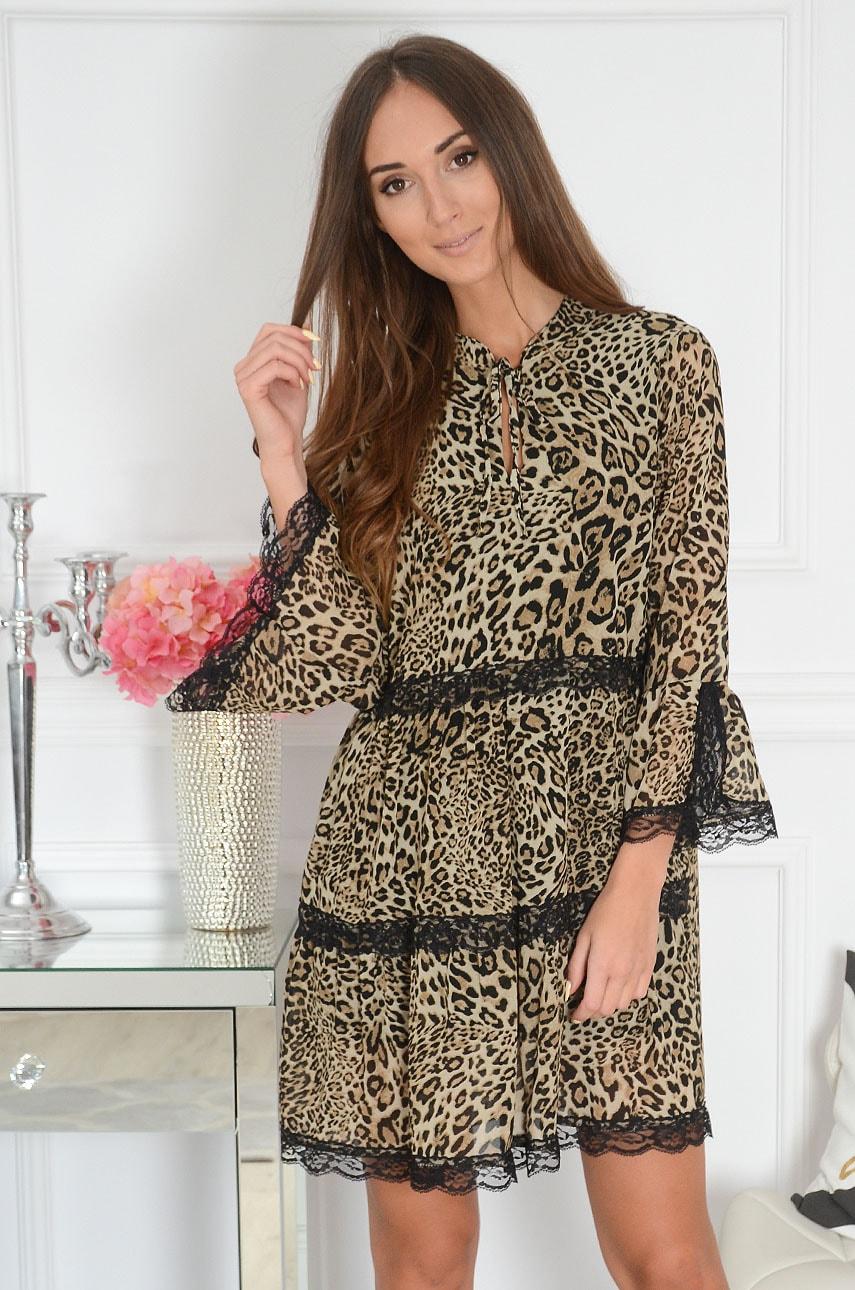 Sukienka z falban w panterkę kamel Milagros Rozmiar: UNI