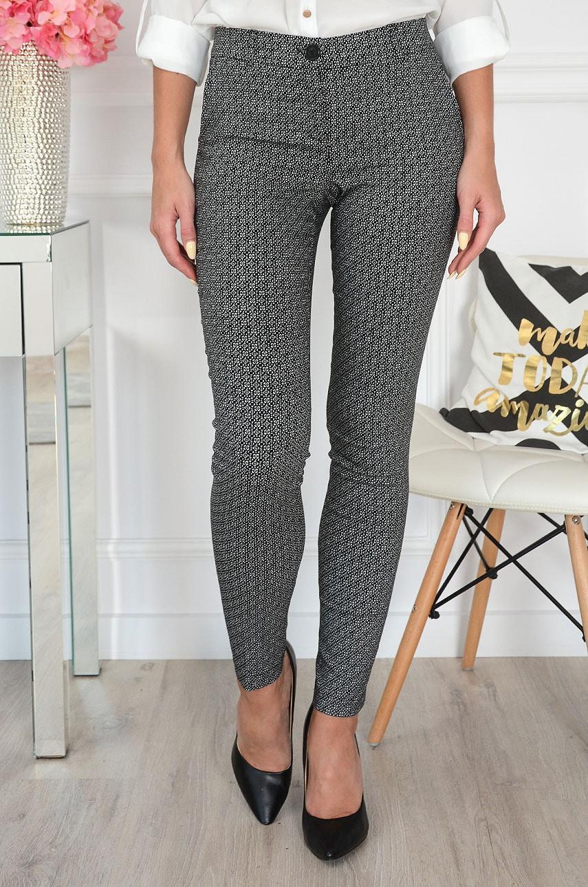 Spodnie Cygaretki w drobne białe wzory czarne Ida Rozmiar: M