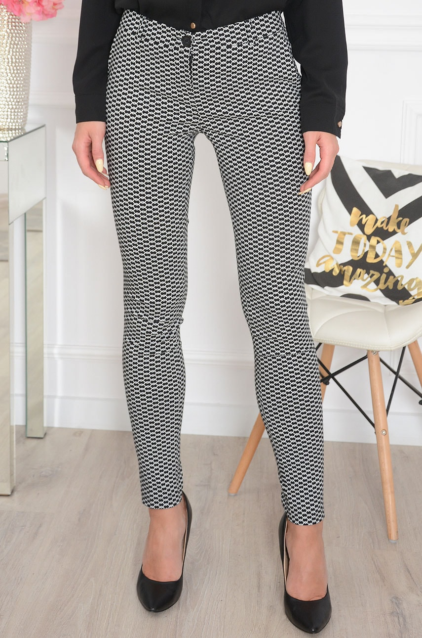 Spodnie Cygaretki geometric wzór czarne Ida Rozmiar: XS