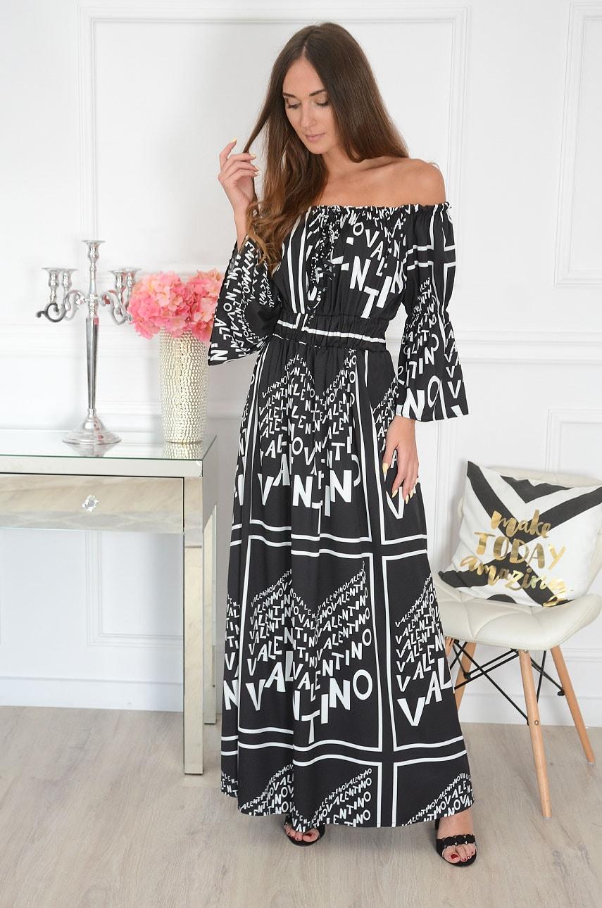 Sukienka maxi hiszpanka w napisy czarno-biała Velto Rozmiar: UNI