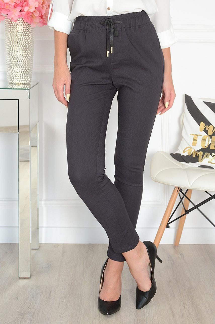 Eleganckie spodnie a'la dres grafit Freesia Rozmiar: XL