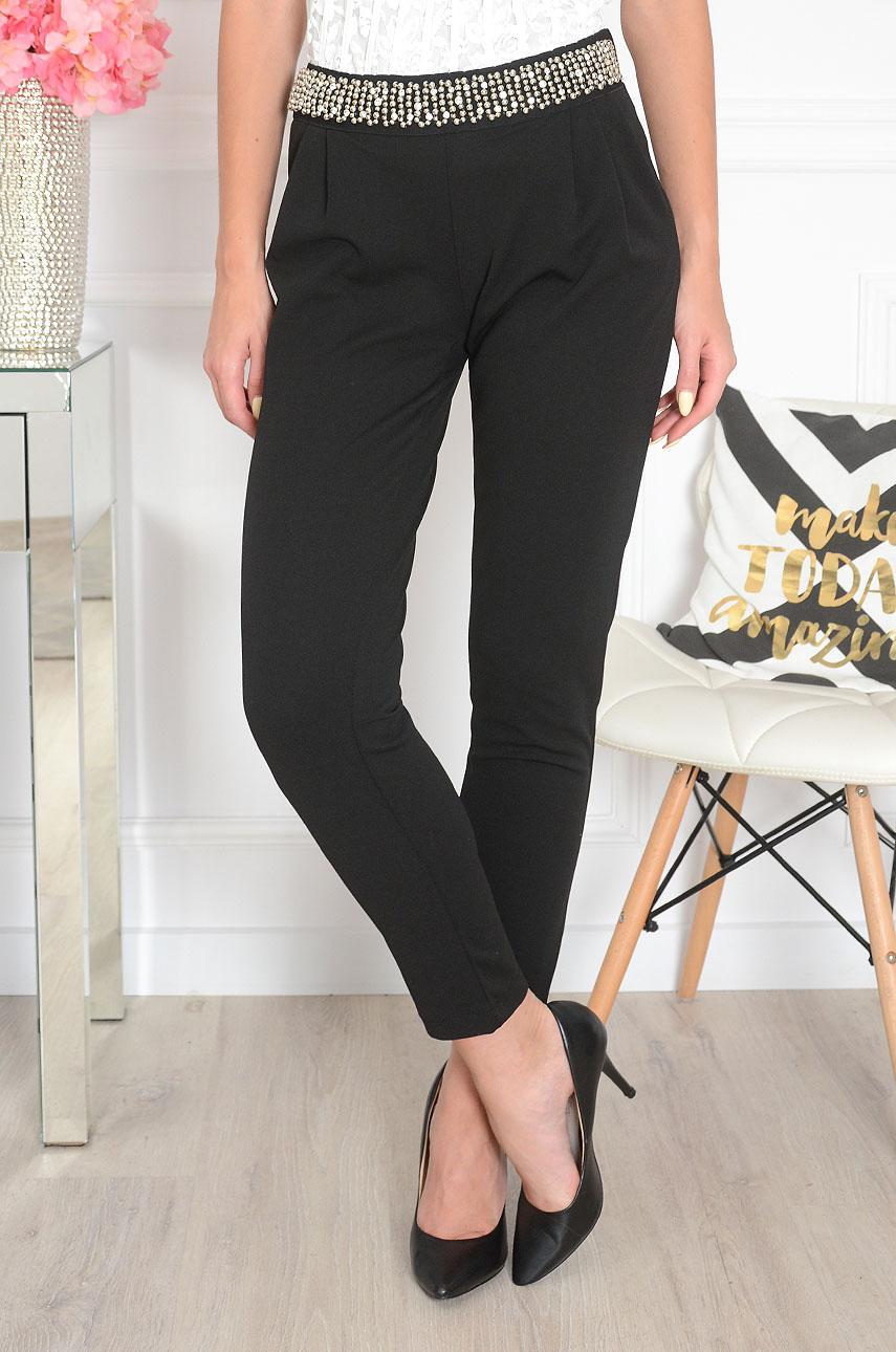 Spodnie z ozdobnym pasem czarne Selvatico Rozmiar: L