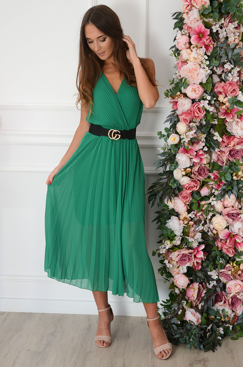 Sukienka maxi plisowana kopertowy dekolt zielona Aysel Rozmiar: UNI