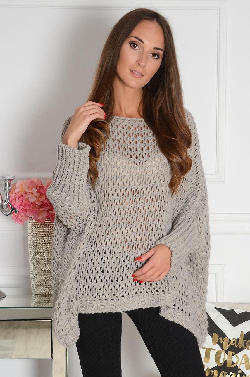 Sweterek oversize ażurowy grubo pleciony szary Eder Rozmiar: UNI