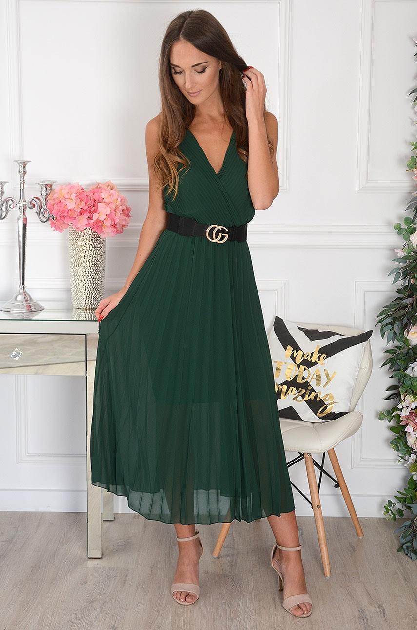 Sukienka maxi plisowana kopertowy dekolt ciemna zieleń Aysel Rozmiar: UNI