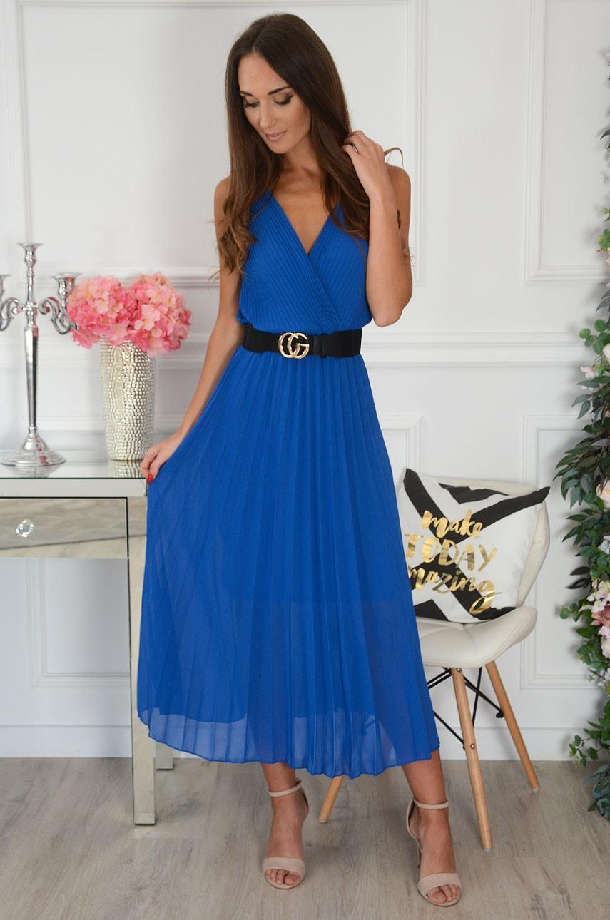 Sukienka maxi plisowana kopertowy dekolt kobalt Aysel Rozmiar: UNI