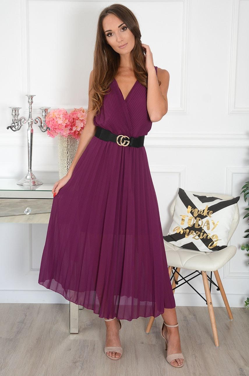 Sukienka maxi plisowana kopertowy dekolt śliwka Aysel Rozmiar: UNI