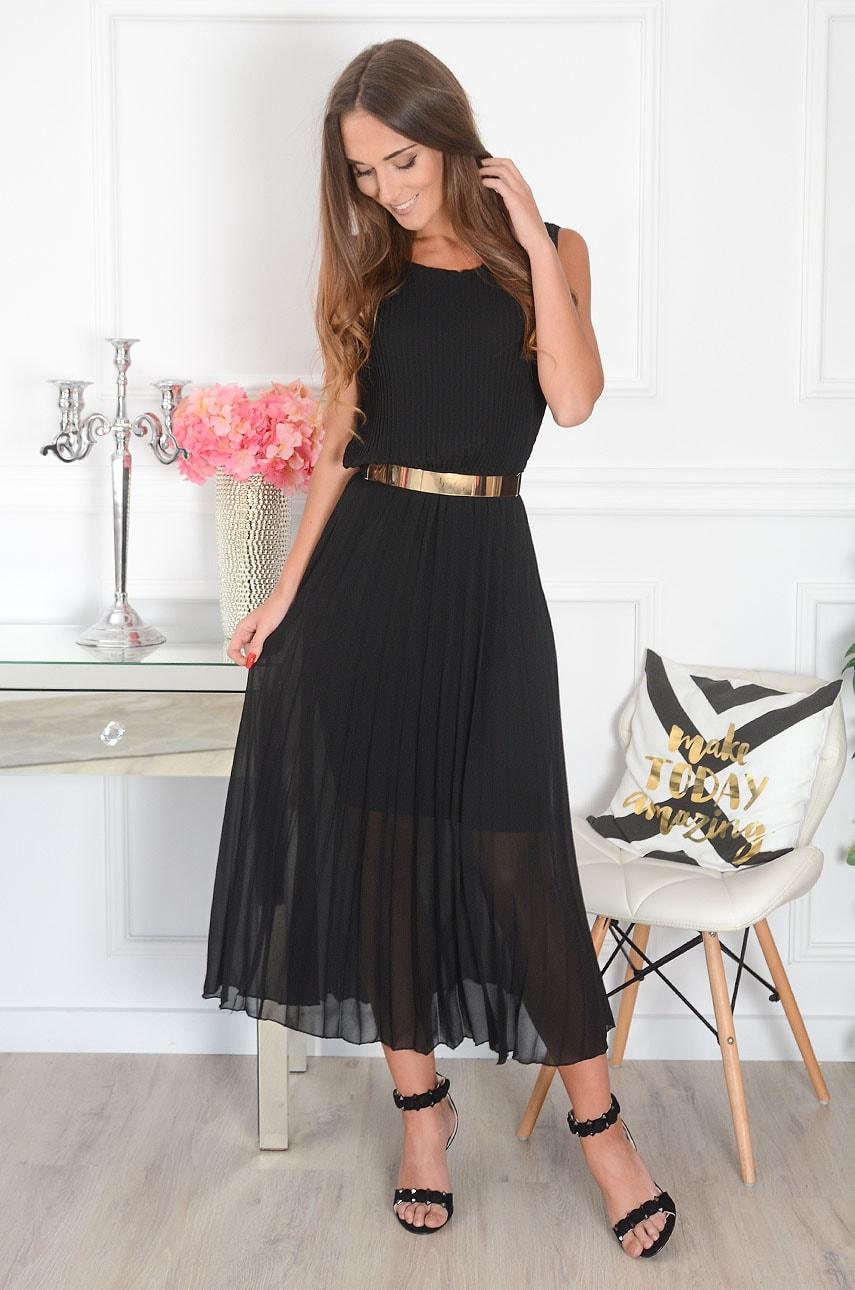 Sukienka maxi plisowana kopertowy dekolt czarna Aysel Rozmiar: UNI