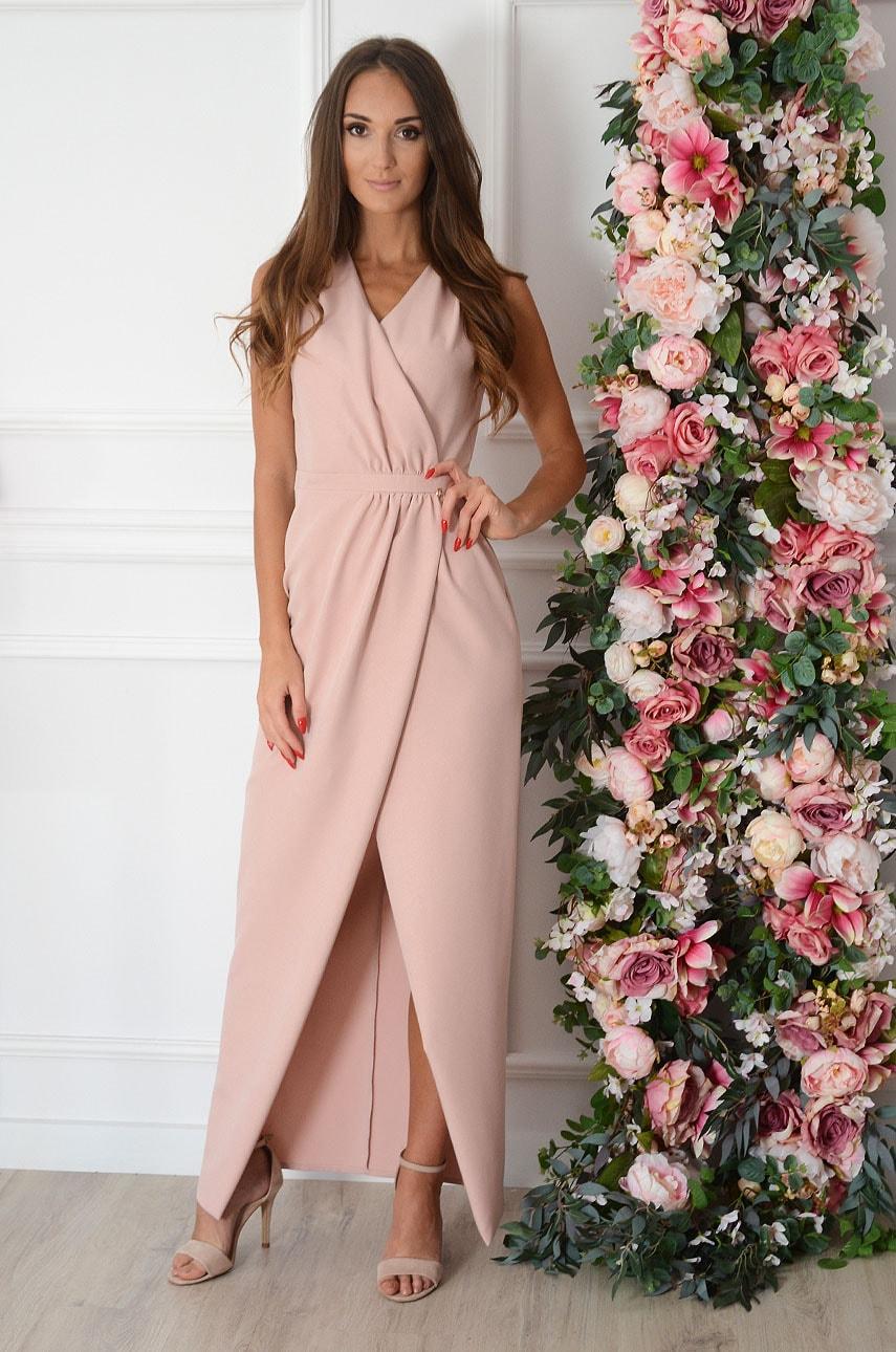 Sukienka maxi kopertowa połyskująca pudrowy róż Kamelya