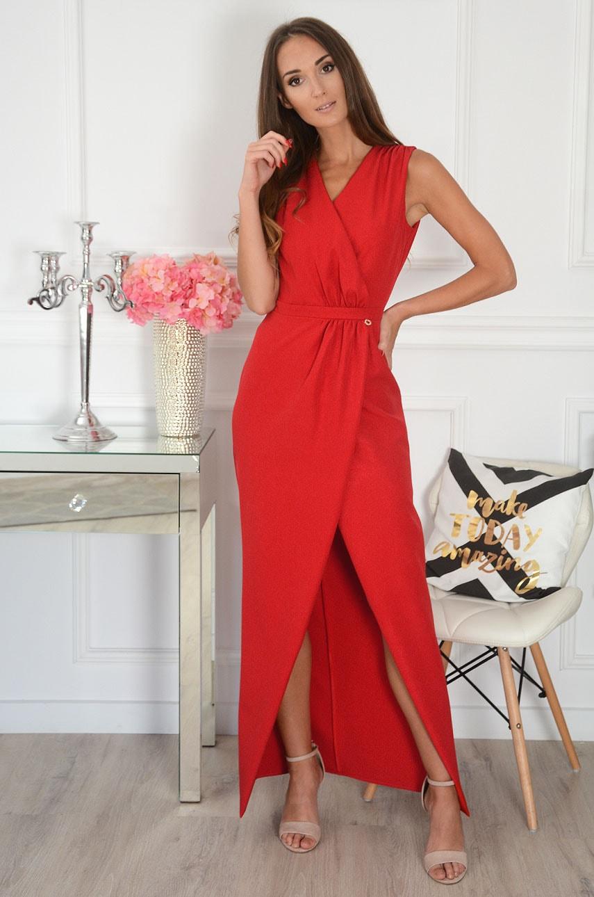 Sukienka maxi kopertowa połyskująca czerwona Kamelya