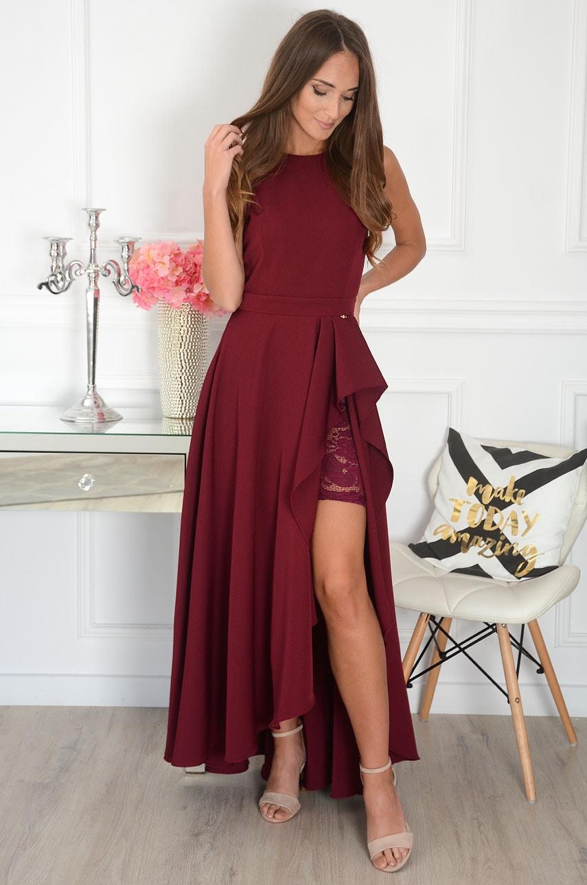 Sukienka maxi asymetryczna burgund Esmeralda Rozmiar: XS