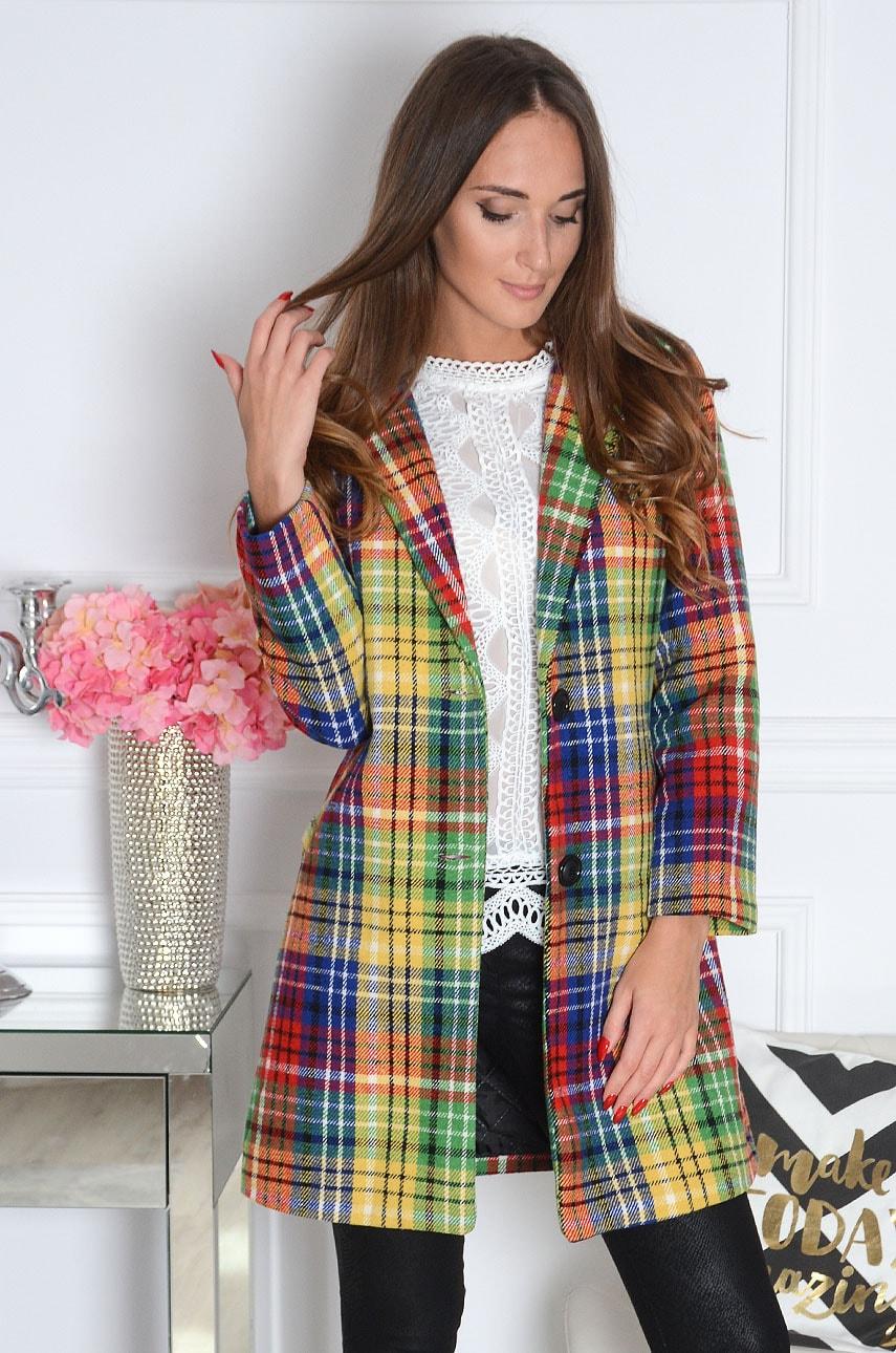 Elegancki płaszcz w kratę multicolor Cansel