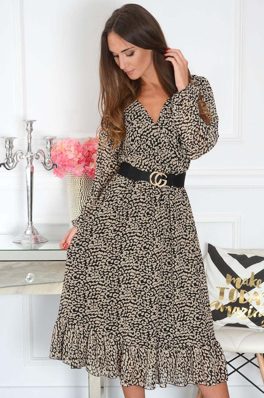 Sukienka szyfonowa midi w beżowe cętki czarna Agnese Rozmiar: XS