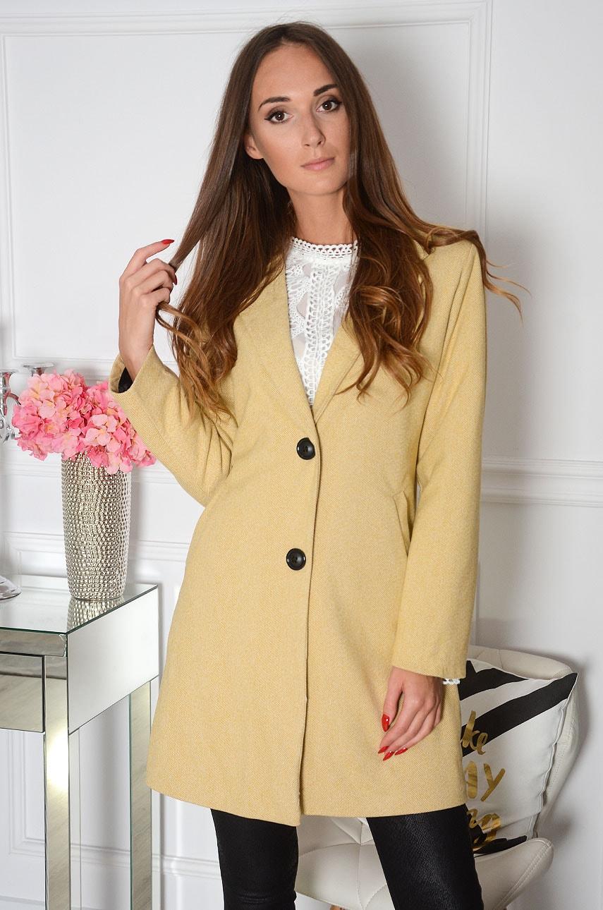 Elegancki płaszcz w drobną jodełkę musztarda Cansel Rozmiar: S