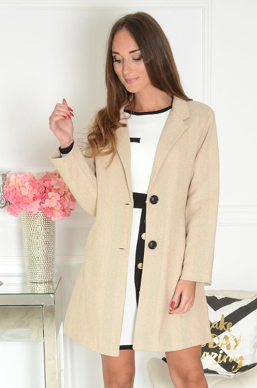 Elegancki płaszcz w drobną jodełkę jasny beż Cansel Rozmiar: L