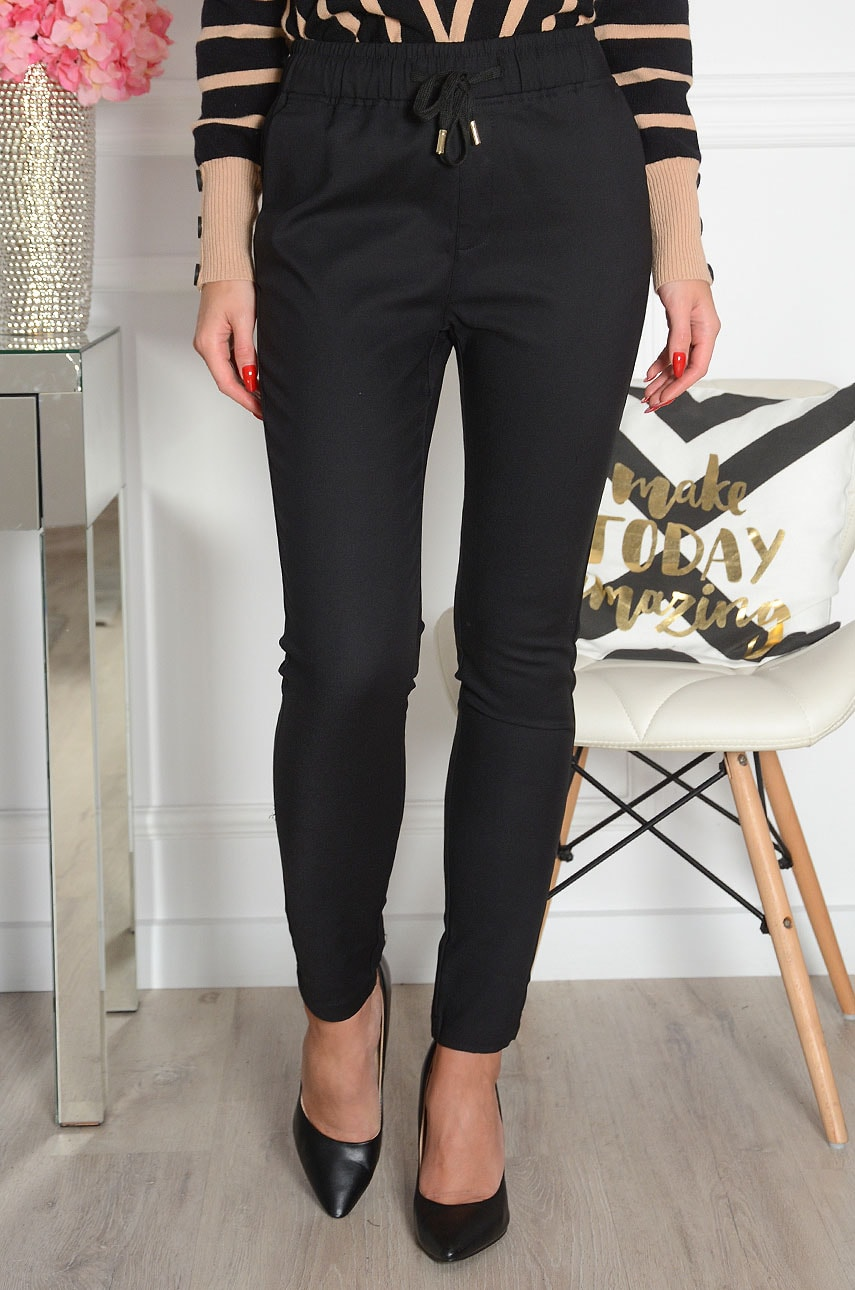 Eleganckie spodnie a'la dres czarne Freesia Rozmiar: S