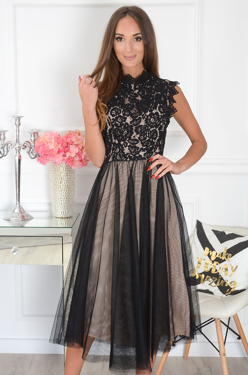 Sukienka midi z koronki i tiulu czarno-beżowa Diori Rozmiar: S