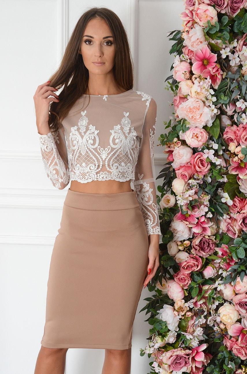 Elegancki komplet bluzka top + spódnica biało beżowy