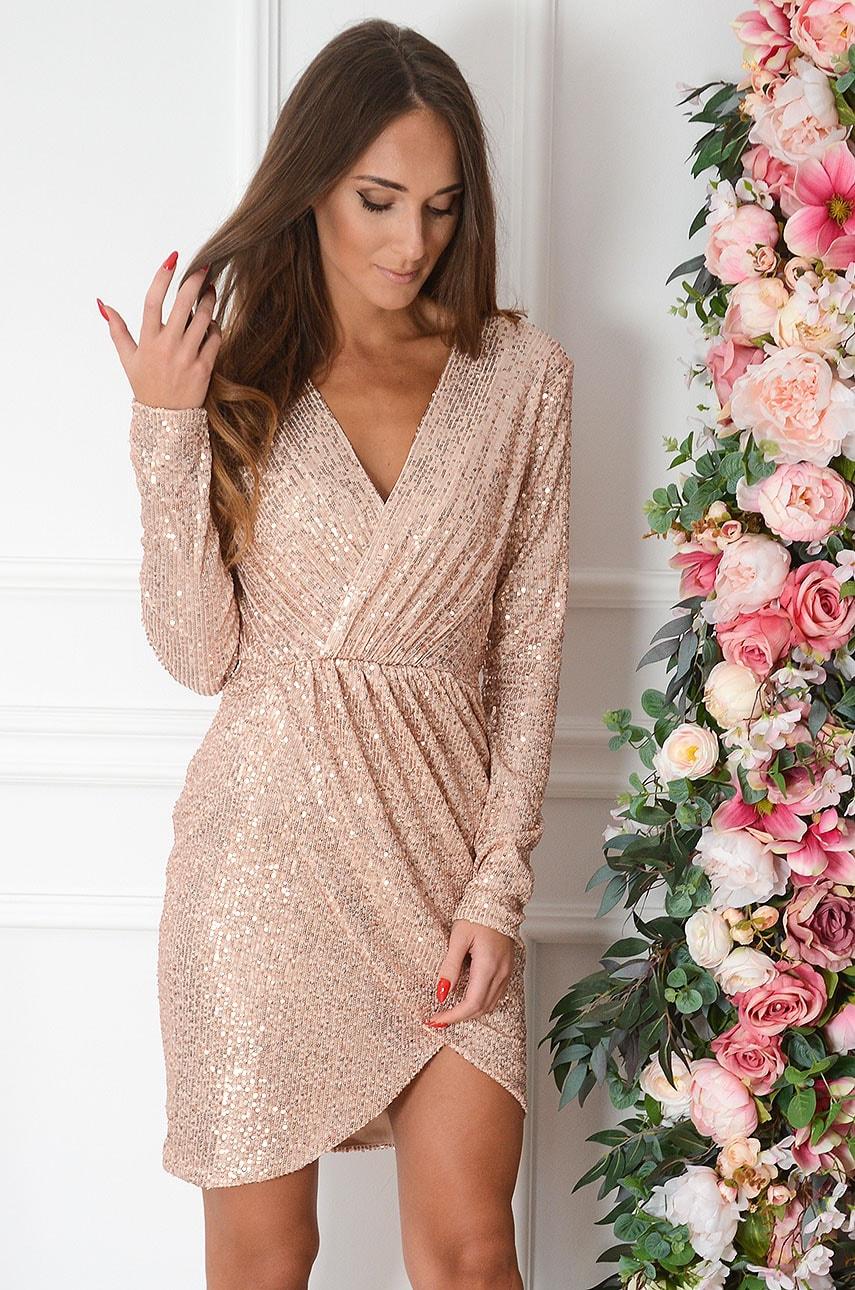 Sukienka cekinowa kopertowa różowe złoto Aria Rozmiar: L