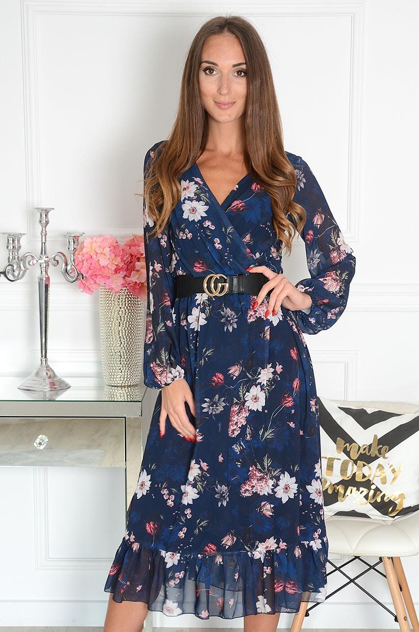 Sukienka szyfonowa midi w kwiaty granat Agnese Rozmiar: XS