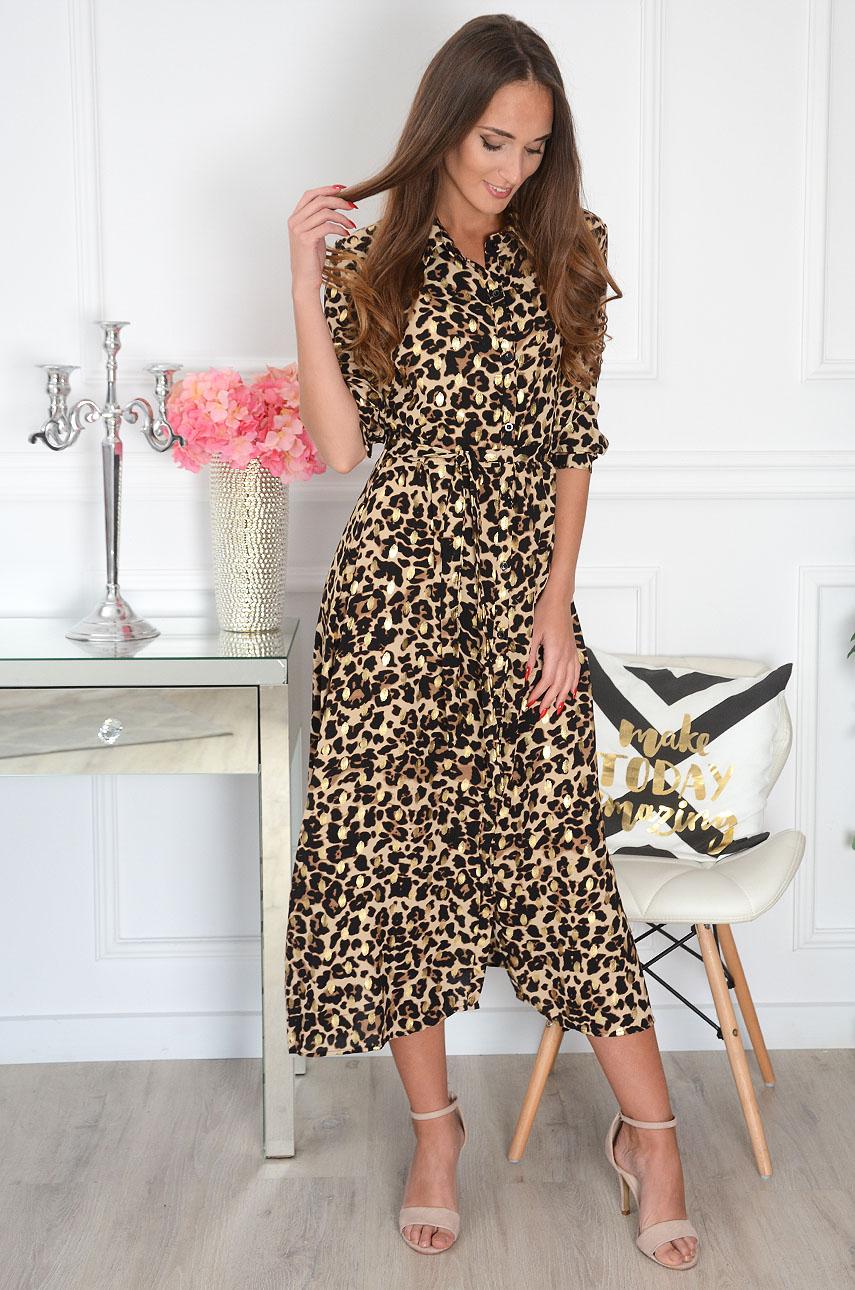 Sukienka maxi na guziki w panterkę złote wzory beż Santa Rozmiar: L/XL