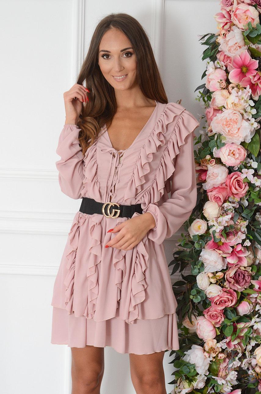 Sukienka szyfonowa z ozdobnymi falbanami pudrowy róż Nefes Rozmiar: S