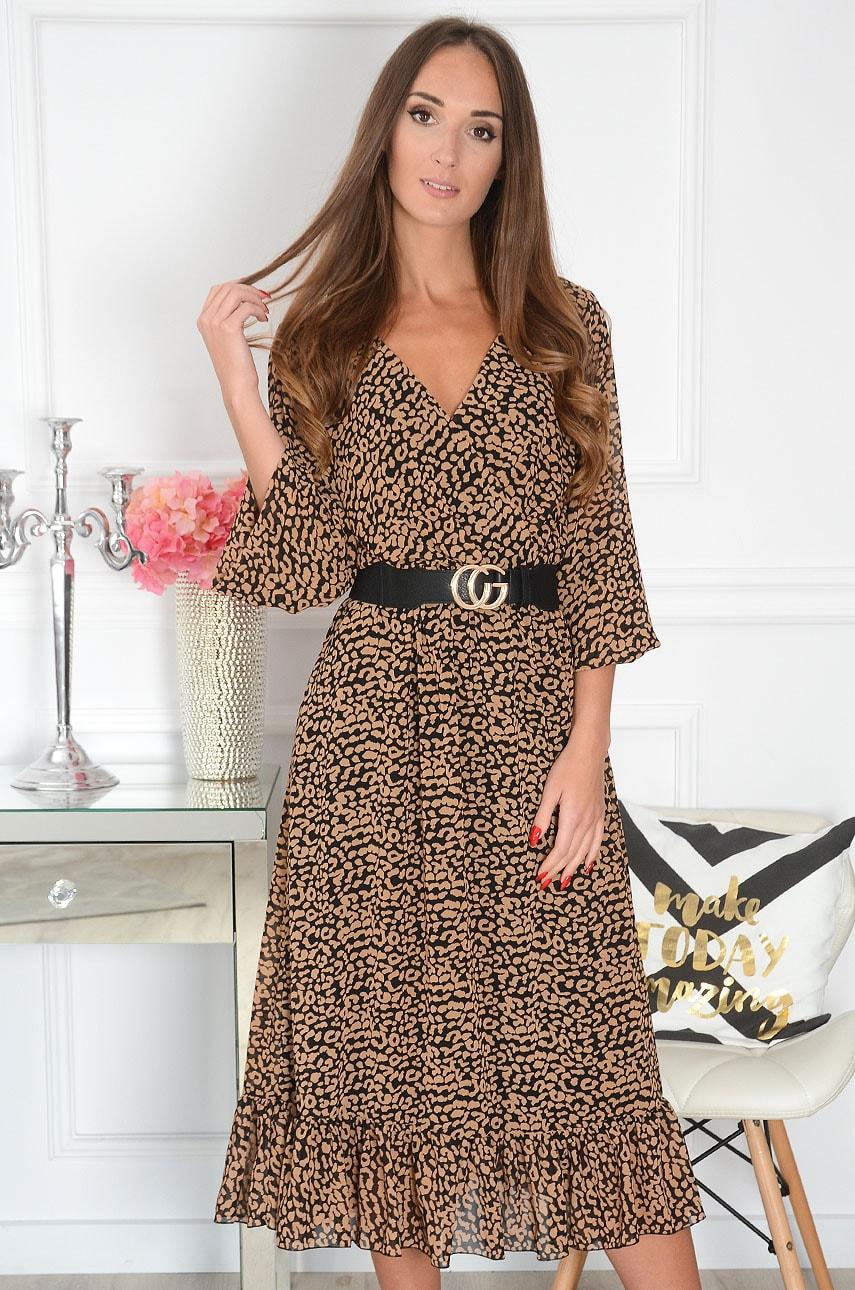 Sukienka szyfonowa midi w kamelową panterkę czarna Agnese